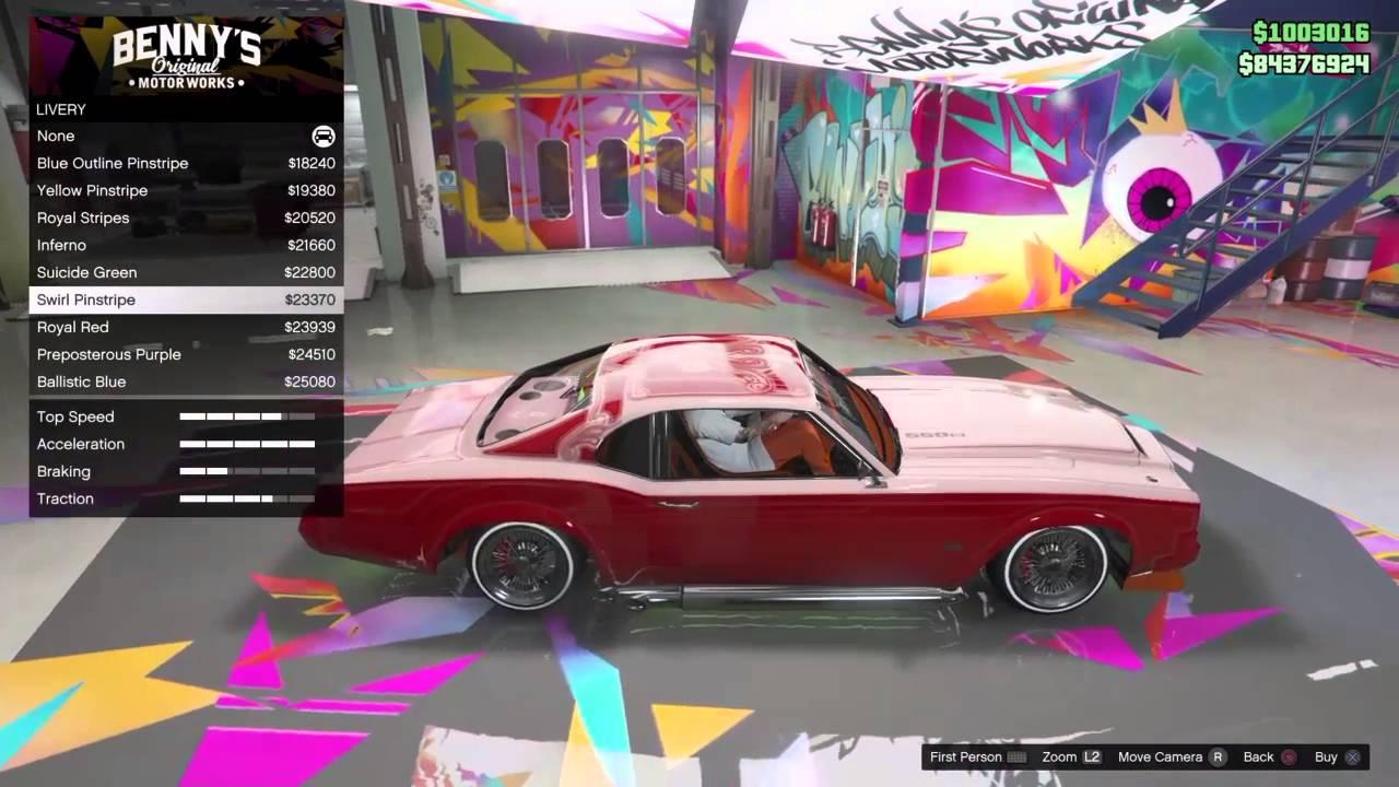 GTA 5 Sabre turbo tuning in benny's