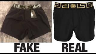 How To Spot Fake Versace Greca Medusa Swim Shorts Authentic vs Replica Comparison
