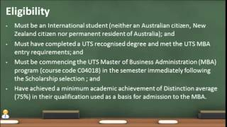 Australia - University of Technology, Sydney, MBA Scholarship [140715]