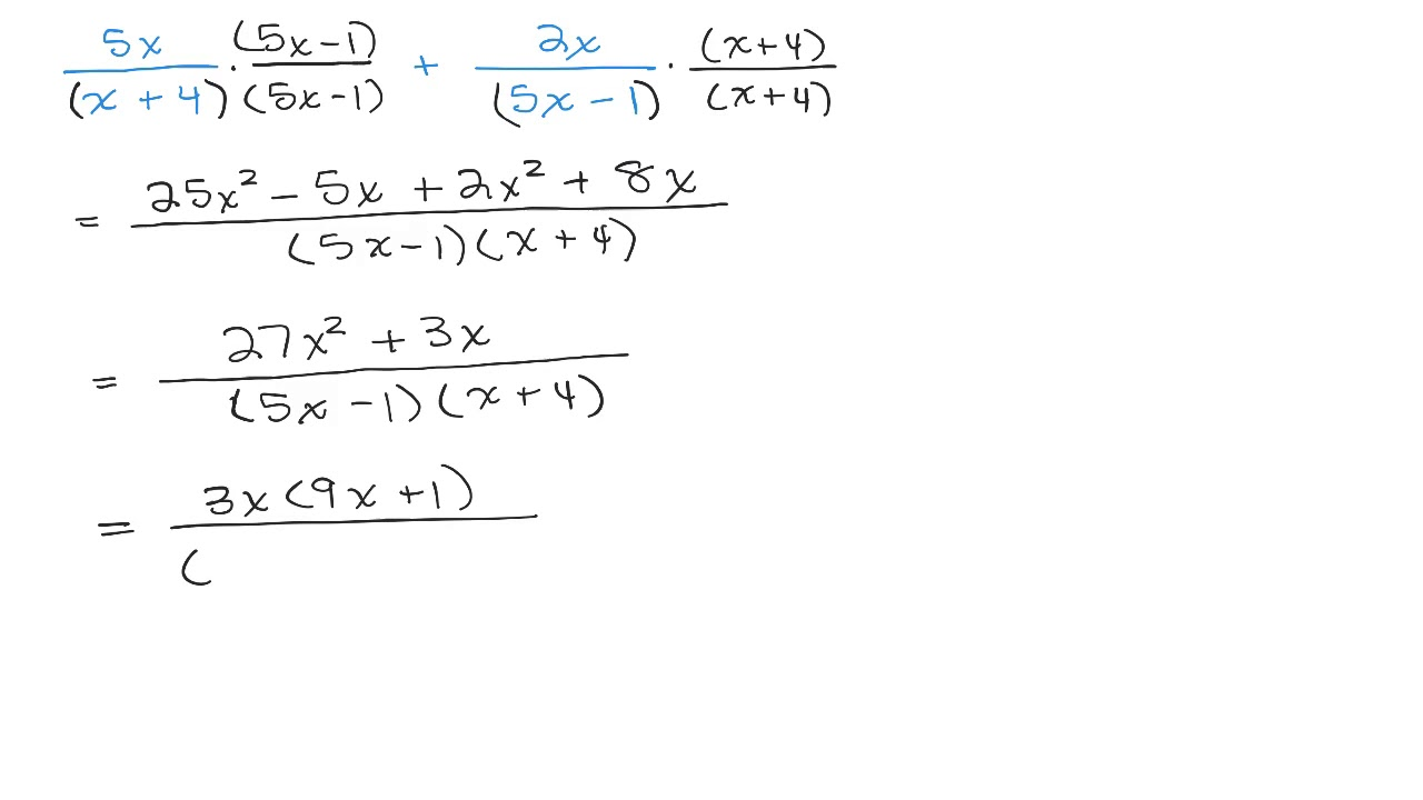 Add Rational Expression Unlike Denominators 4 Examples Youtube Addition of two rational expressions