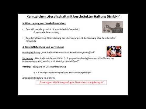 Rechtsformen von Unternehmen 5: Die Gesellschaft mit beschränkter Haftung (GmbH)