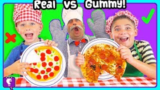 GIANT Gummy Vs Real Challenge with HobbyChefy and HobbyKids