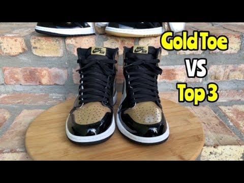 "f376b96b875b Jordan 1 Comparison ""Gold Toe"" vs ""Top 3"" - YouTube"