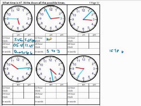 Time worksheets for calculating time difference, reading time, 24 ...