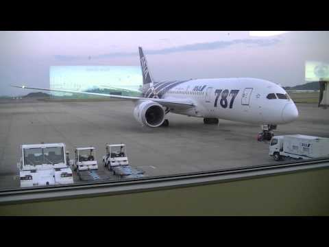 ANA Boeing 787 that arrived at Okayama Airport