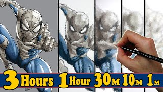 DRAWING SPIDER-MAN in 3 HOURS, 1 HOUR, 30 MINUTES, 10 MINUTES & 1 MINUTE! - UNBELIEVABLE RESULTS!