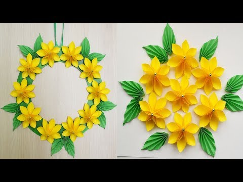 Decoration for room Paper Yellow flowers with leaves Decor Ideas 2018 Tutorial DIY