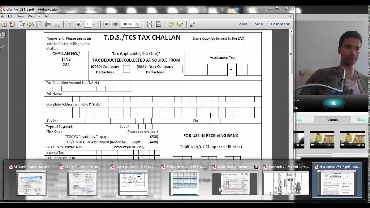 10 Tds How To Fill Challan For Tds Deposit Challan 281 Hindi