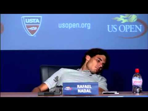 2011 US Open_ Nadal Cramps Up During Press Conference.