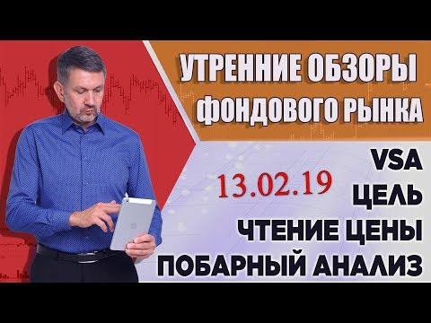 VSA, побарное чтение графиков. Обзор фондового рынка на 13 февраля 2019г.