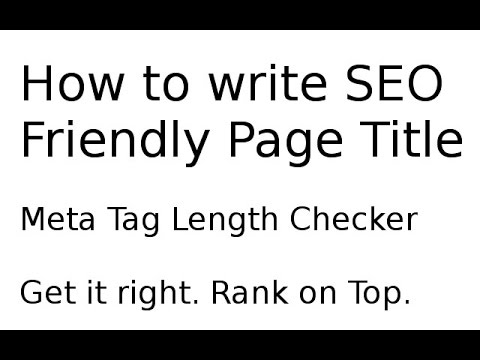How to write perfect Page / Meta Title and Description Meta Tag - how to write a title