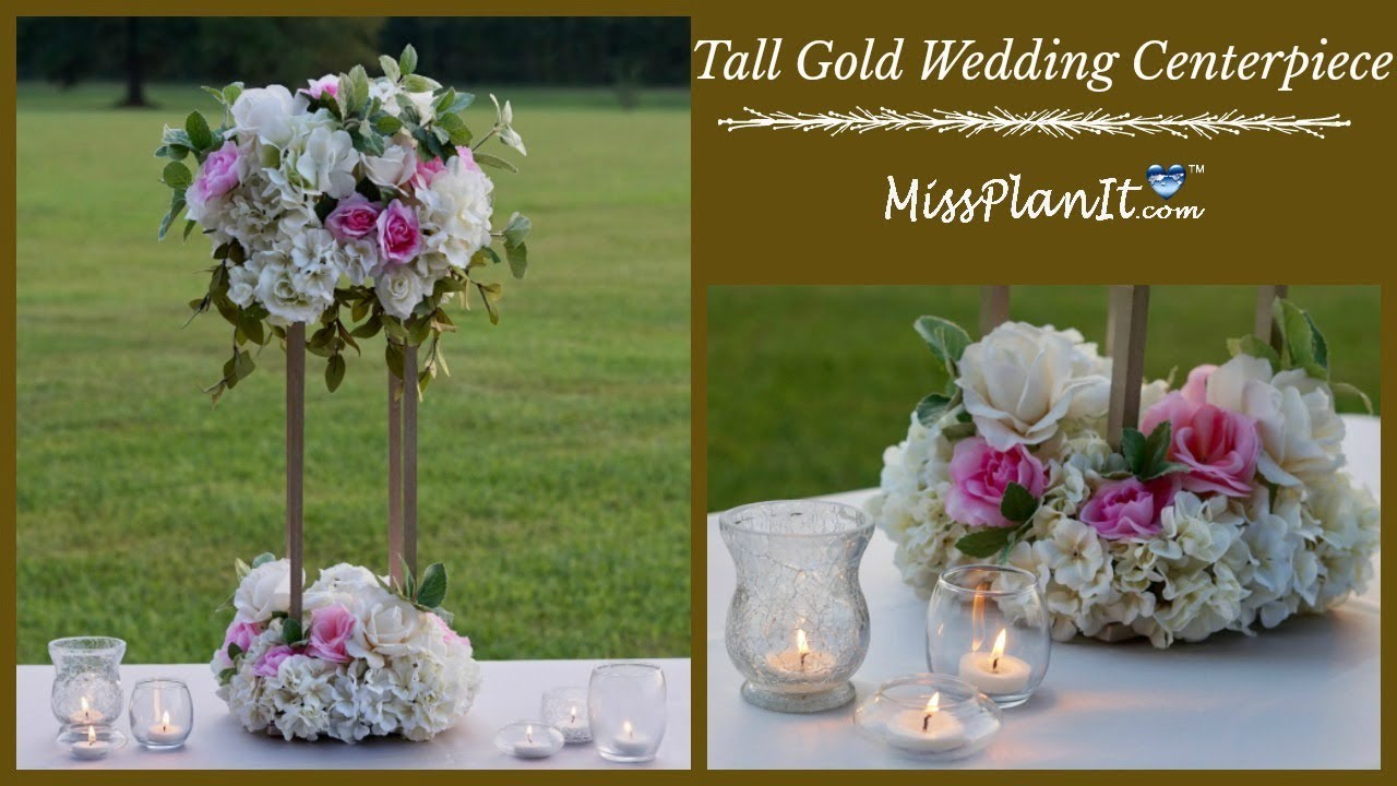 diy tall geometric gold stand modern wedding centerpiece tall glam rh youtube com diy tall elegant wedding centerpieces diy wedding centerpieces tall vases