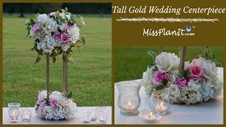 DIY Tall Geometric Gold Stand Modern Wedding Centerpiece| Tall Glam Centerpiece| DIY Tutorial