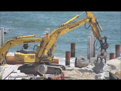 Atlantic City Boardwalk inlet wall construction