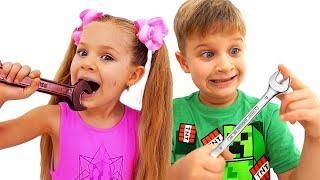 डायना और रोमा ने एक चॉकलेट चुनौती दी