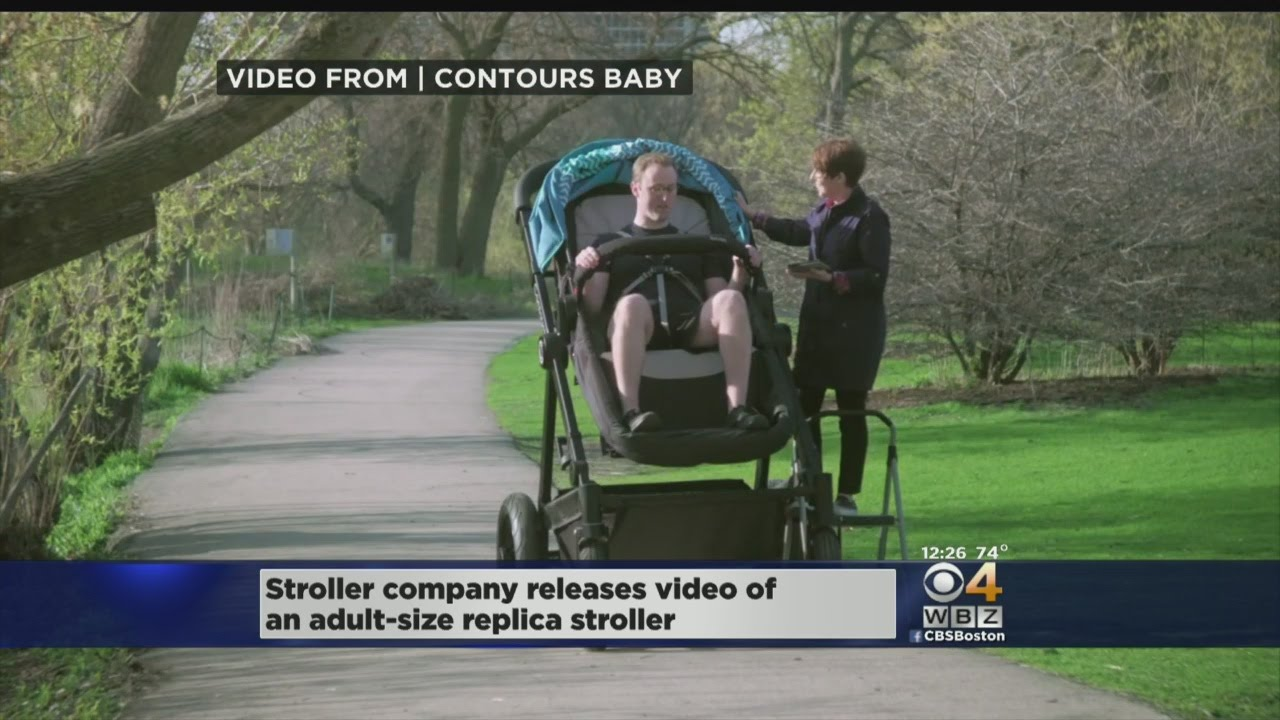 afc4ae9a502 Company Makes Adult-Sized Stroller For Parents To Test - YouTube