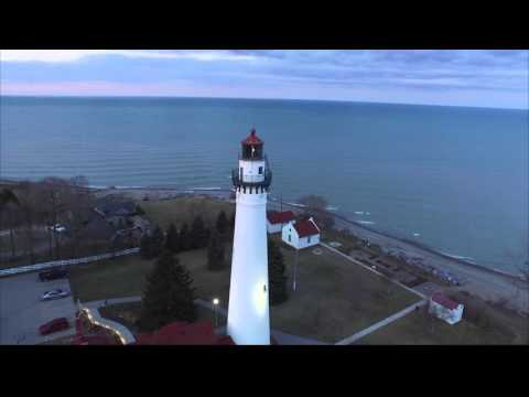 wind point lighthouse racine wi aerial video
