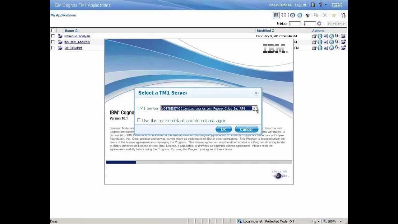 IBM Cognos TM1 Performance Modeler