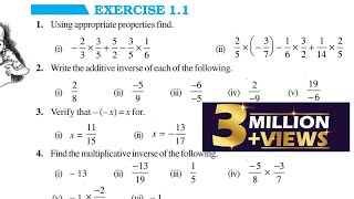 Chapter 1 Rational Numbers || Exercise 1.1 || Class 8 Maths || RBSE CBSE NCERT