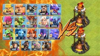 Watch Every Troop Attack the Single and Multi Level 5 Inferno Tower...
