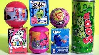 Toy Surprises TROLLS, PJ Masks Fire Truck, Monster High, Grossery Gang Sticky Soda Can, Marvel Dory