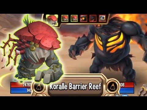 Monster Legends Koralle Brutalis Level 130 Vs Tephra Combat Review