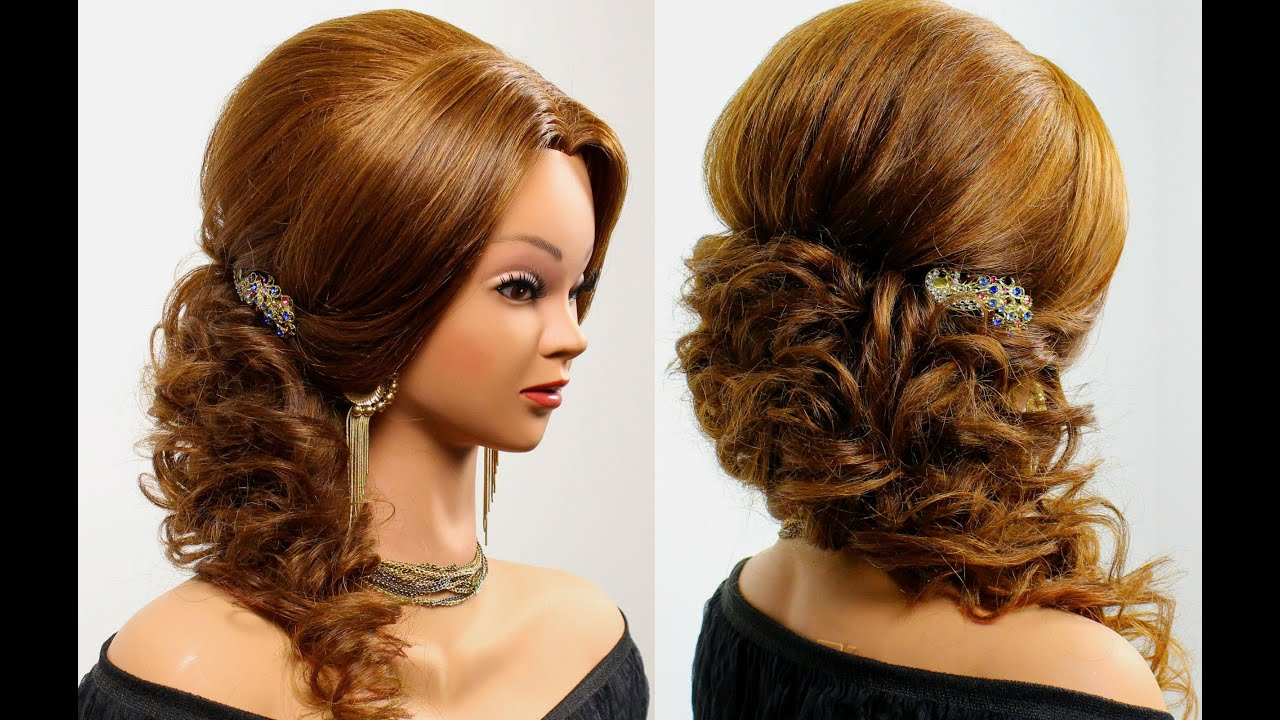 Wedding hairstyle for medium long hair. - YouTube