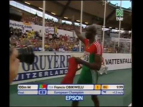 Atletismo :: Francis Obikwelu, medalha de ouro nos 100m dos Europeus em Gotemburgo 2006