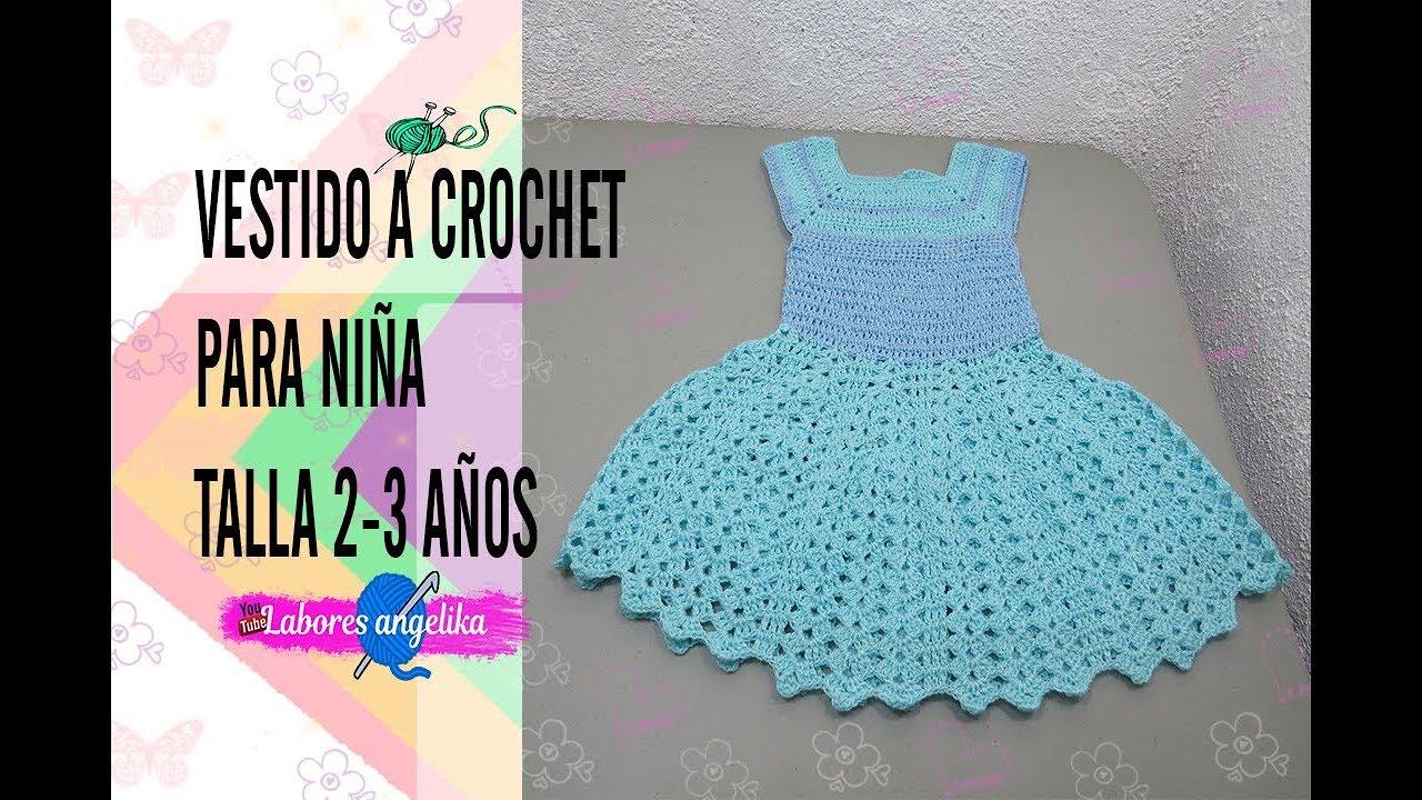 Vestido A Crochet Para Niña Talla 2 3 Años Labores Angélika