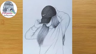 hidden face drawing  || How to draw a girl with cap || Pencil sketch || bir kız nasıl çizilir