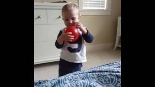 2year old learned to blow a balloon
