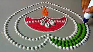 Attractive Deepawali rangoli   Very Easy rangoli for Diwali  Rangoli design by shalini