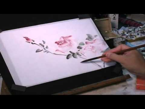 Watercolor Tutorial: How to Wield a Chinese Brush to Paint Roses
