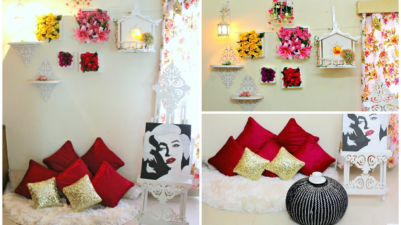 DIY Floral Wall Decor With Floor Sitting Area In A Budget/DIY Home Decor  Ideas