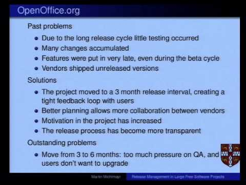 Open Source Speaker Series: Release Management in Large Free Software Projects