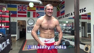 SERGEY KOVALEV TRIES TO KNOCKOUT HIS HOMIE WITH VICIOUS BODY SHOTS; LOOKING JACKED UP!!
