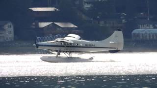 Wings Airways Turbine Otter Takeoff (N336AK) w/prop vortices