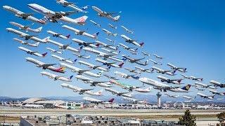 Los Angeles International Airport. Взлёты и посадки самолётов.