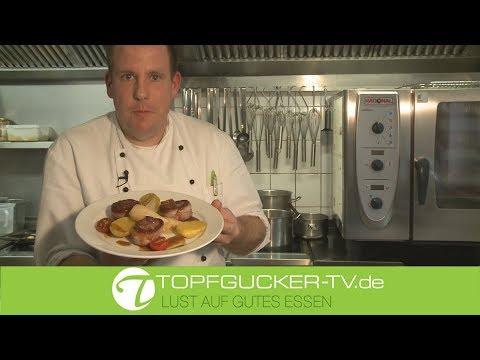 Rehmedaillons im Speckmantel | glasierten Teltower Rübchen | Rosmarinkartoffeln | Topfgucker-TV