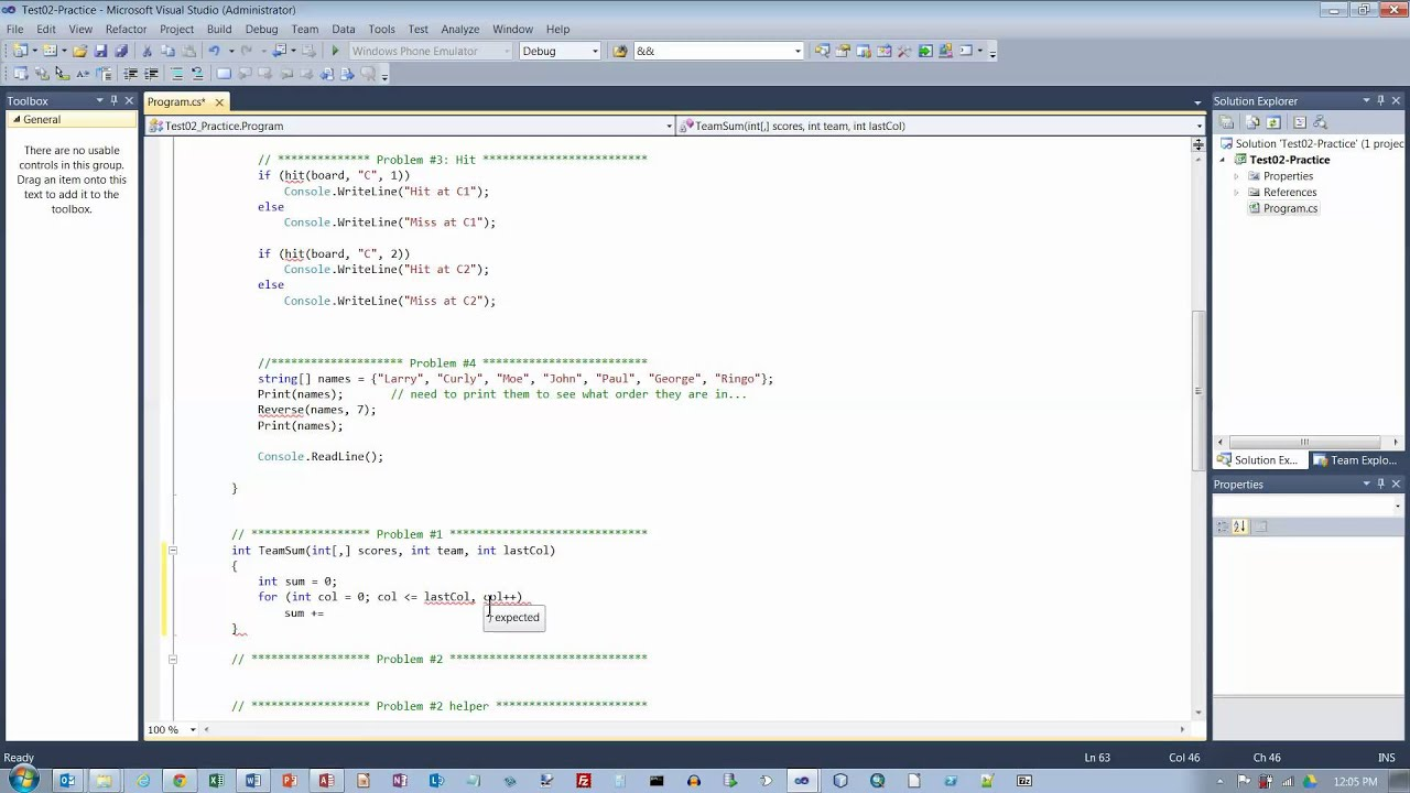 C# Practice Test, Problem #1