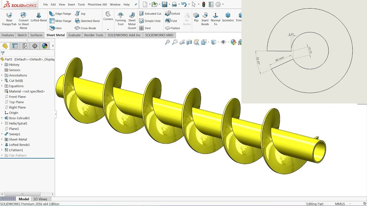 Calculate Helical Screw Conveyor In Flat Form Using