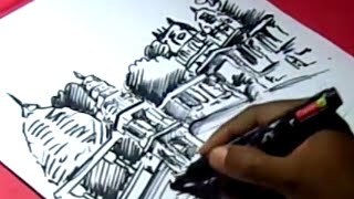 How to Draw MAHA NANDI TEMPLE DRAWING for kids