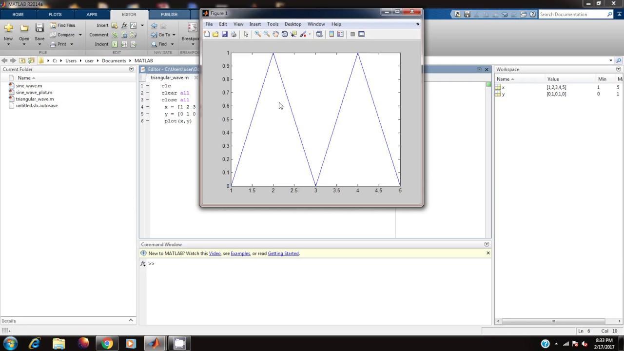 Generating Triangular Wave In Matlab Youtube
