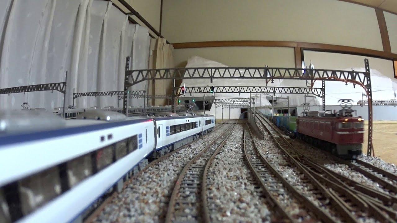 【Nゲージレイアウト】車載カメラ前面展望 8列車同時走行(2)