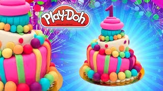 Dolls Food. First Year Birthday Cake. Play Doh DIY for Kids. Learn Colors. Educational Video