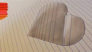 How to Draw a 3D Hole Heart Shape - Easy 3D Drawings