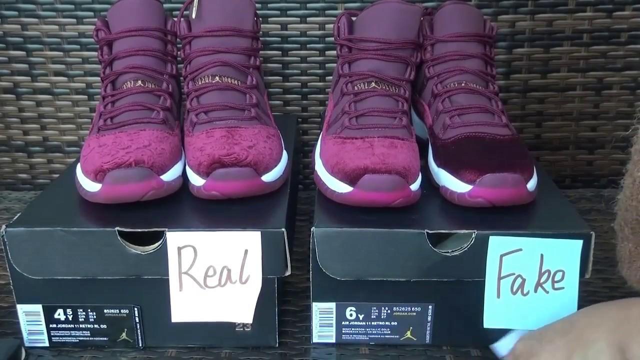 half off 5a383 b22a7 Retail VS Fake Air Jordan 11 Retro Red Velvet from www.yeezybaykicks.net