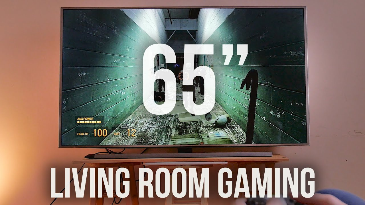 Insane gaming on 65 inch 4k tv youtube for Living room with 65 inch tv