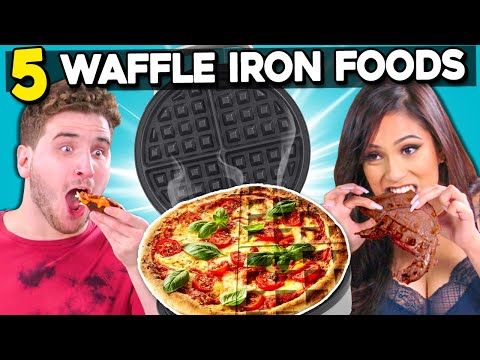 5 Crazy Waffle Iron Experiments #2   People Vs. Food