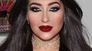 ULTRA GLAM Special Occasion Makeup Tutorial Champagne Gold Glitter + Dark Red Lips | Melissa Samways